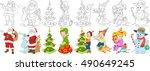 cartoon new year set. santa... | Shutterstock .eps vector #490649245