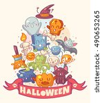 halloween background with cute... | Shutterstock .eps vector #490653265