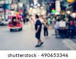 people in bokeh  blurred crowd... | Shutterstock . vector #490653346