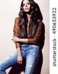 attractive beautiful... | Shutterstock . vector #490653922