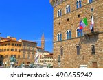 medieval facade of palazzo... | Shutterstock . vector #490655242
