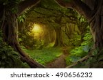 deep tropical jungles of... | Shutterstock . vector #490656232