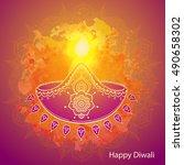 happy diwali. hindu festival... | Shutterstock .eps vector #490658302