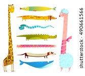 fun cartoon long animals... | Shutterstock . vector #490661566