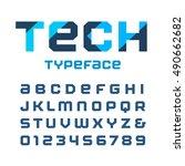 tech square font. vector... | Shutterstock .eps vector #490662682