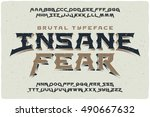 insane fear brutal font with... | Shutterstock .eps vector #490667632