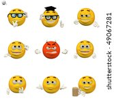 Comic Emoticon Icon Set