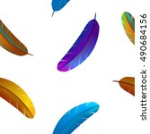 colorful feathers seamless... | Shutterstock .eps vector #490684156