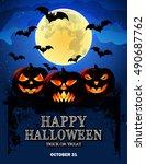 halloween poster with pumpkins... | Shutterstock .eps vector #490687762
