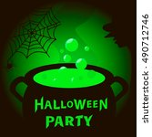 halloween background with magic ... | Shutterstock .eps vector #490712746