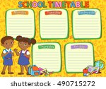 school timetable schedule with... | Shutterstock .eps vector #490715272