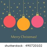 christmas balls card background.... | Shutterstock .eps vector #490720102