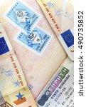 the schengen visa of greece on... | Shutterstock . vector #490735852