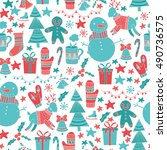 christmas seamless pattern.... | Shutterstock .eps vector #490736575