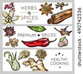 three horizontal spice and herb ... | Shutterstock .eps vector #490742536