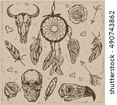 skull boho tattoo set with... | Shutterstock .eps vector #490743862