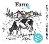 black sketch cow farm landscape ...   Shutterstock .eps vector #490743895
