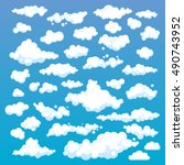 cartoon clouds set on blue sky... | Shutterstock .eps vector #490743952