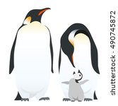 emperor penguin family ... | Shutterstock .eps vector #490745872