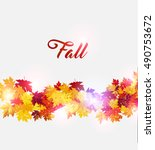 autumn background with maple... | Shutterstock .eps vector #490753672