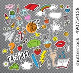 set with stickers with everyday ... | Shutterstock .eps vector #490754128