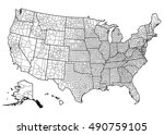 united states of america map | Shutterstock .eps vector #490759105