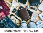 overhead view of hipster... | Shutterstock . vector #490762135