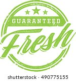 guaranteed fresh product stamp | Shutterstock .eps vector #490775155