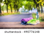 pair of yellow green sport...   Shutterstock . vector #490776148