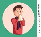 sick man. unhappy character....   Shutterstock .eps vector #490782076