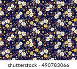 seamless pattern with flowers... | Shutterstock .eps vector #490783066