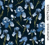 floral pattern with iris... | Shutterstock .eps vector #490791226