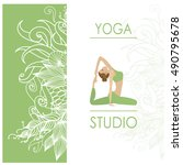 design template for yoga studio ... | Shutterstock .eps vector #490795678