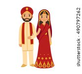 indian wedding couple in... | Shutterstock .eps vector #490797262