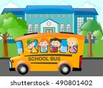 children riding school bus to... | Shutterstock .eps vector #490801402