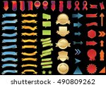 banner gold red vector icon set ... | Shutterstock .eps vector #490809262