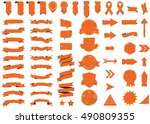 ribbon orange vector icon on... | Shutterstock .eps vector #490809355