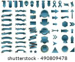 banner blue vector icon set on... | Shutterstock .eps vector #490809478