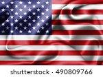 america flag of silk 3d... | Shutterstock . vector #490809766