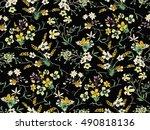 trendy seamless floral pattern...   Shutterstock .eps vector #490818136