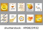 set of autumn cards. vector... | Shutterstock .eps vector #490823932