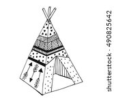 national wigwam of american... | Shutterstock .eps vector #490825642