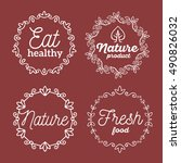 vector set of eco badges with... | Shutterstock .eps vector #490826032