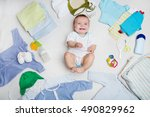 baby on white background with... | Shutterstock . vector #490829962