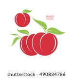peach. isolated fruit on white... | Shutterstock .eps vector #490834786