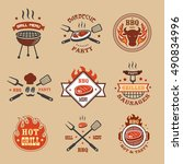 barbecue  grill labels  badges  ... | Shutterstock .eps vector #490834996
