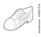 running shoe icon in outline... | Shutterstock . vector #490837576