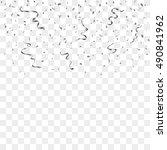 silver confetti celebration... | Shutterstock .eps vector #490841962