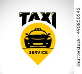 vector flat taxi logo isolated...   Shutterstock .eps vector #490850542