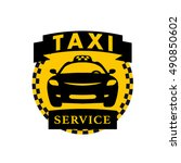 vector flat taxi logo isolated... | Shutterstock .eps vector #490850602